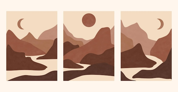 Set of abstract landscape posters. aesthetic background landscape with mountains.
