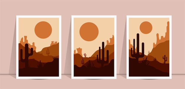 Set of abstract landscape wall art