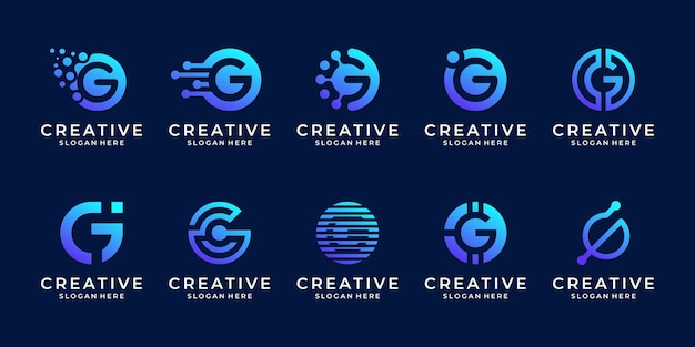 Set of abstract letter g logo template. creative initial icon for technology.