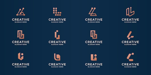 Set of abstract letter l logo for business of luxury, elegant, abstract.