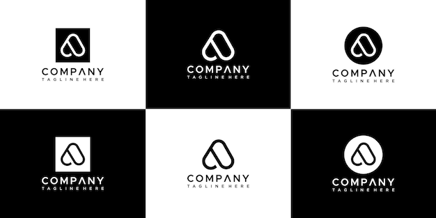 Set of abstract letter a logo design.