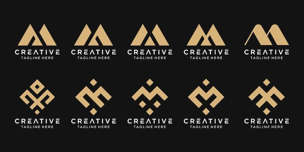 Set of abstract letter m logo template
