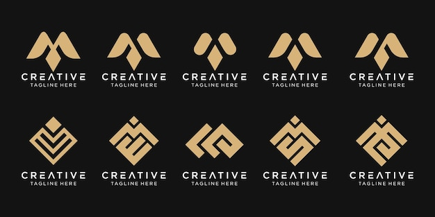 Set of abstract letter m logo template.