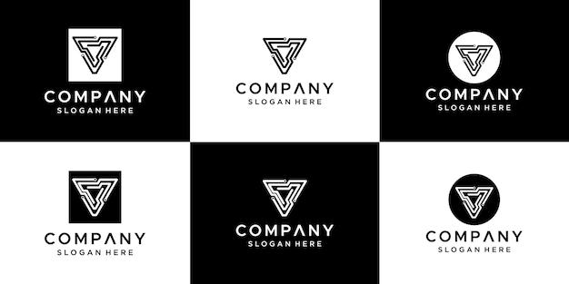 Set of abstract letter v logo design.