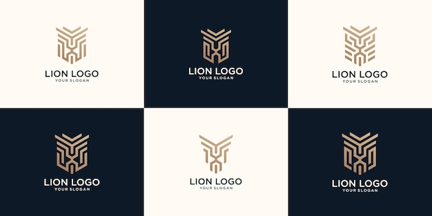 Set of abstract line art lion logo
