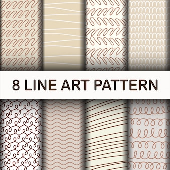 Set abstract line art pattern