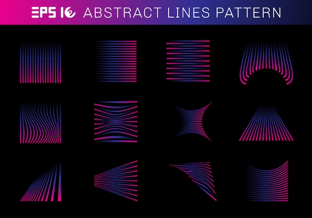 Set of abstract lines pattern elements blue and pink