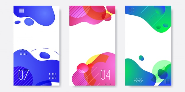 Set of abstract liquid banner template