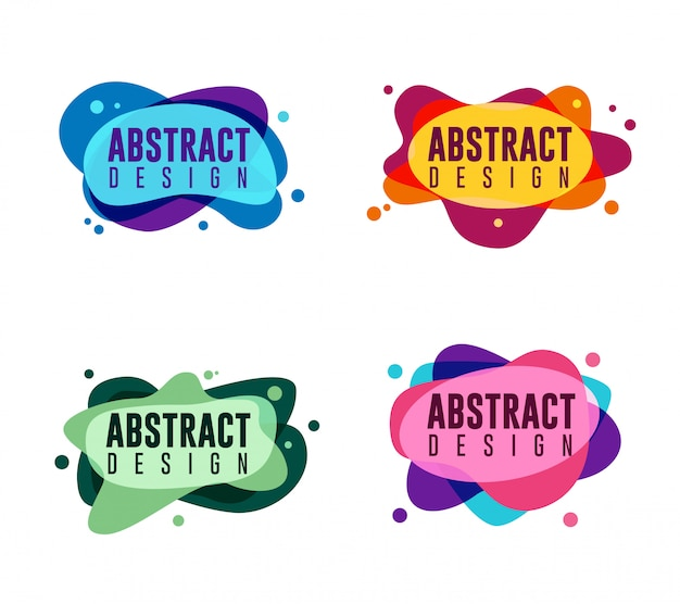 Set of abstract liquid graphic elements
