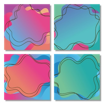 Set of abstract liquid shape fluid design abstract modern graphic liquid gradient shapes