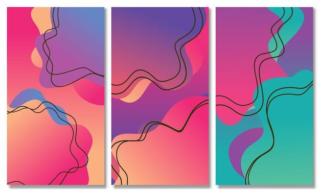 Set of abstract liquid shape fluid design abstract modern graphic set of liquid gradient shapes