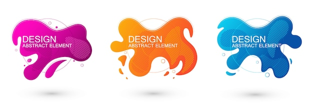 Set of abstract liquid shape graphic elements.
