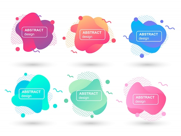 Set of abstract liquid shapes modern graphic elements