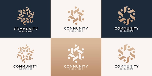 Set of abstract luxury people family and human unity logo template.