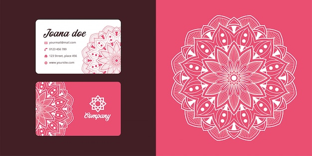 Set of abstract mandala business card. branding identity.