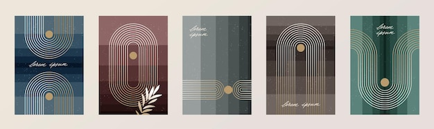 Set of abstract minimal poster with lines and geometric shapes