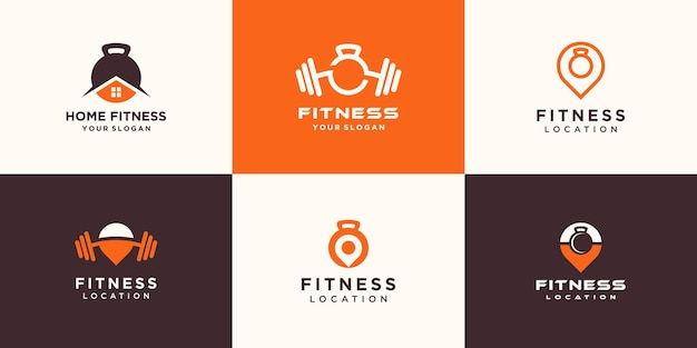 Set of abstract minimalist fitness logo. kettlebell combined dumbbell logo