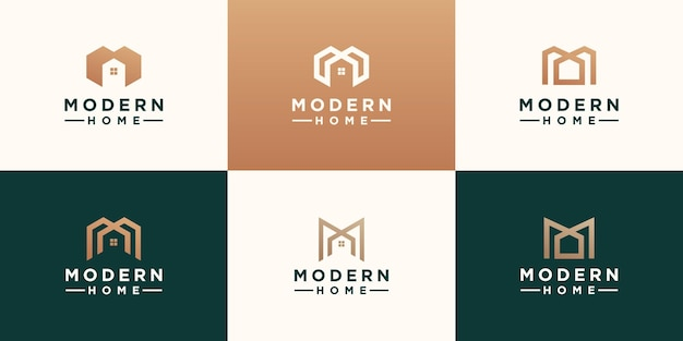 Set of abstract minimalist letter m with home logo design