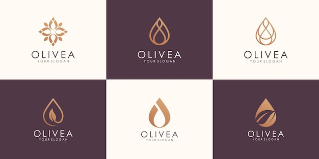 Set of abstract minimalist oil with line concept logo design