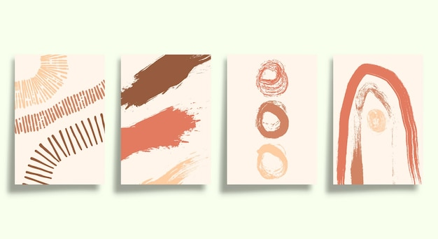 Set of abstract minimalistic typography with hand drawn shapes design for poster, flyer, brochure cover, or other printing products. vector illustration.