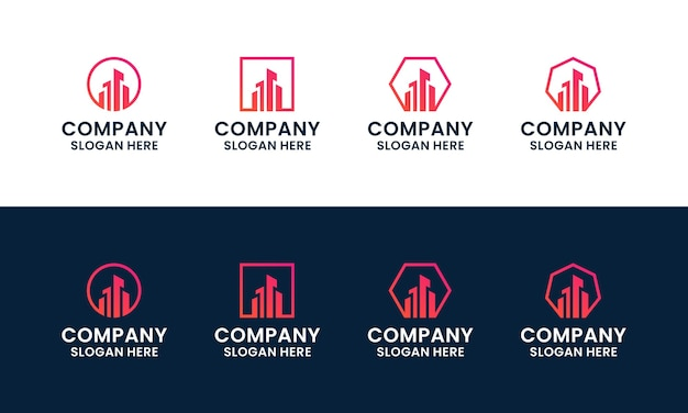 Set of abstract and modern building, architecture, real estate logo design template