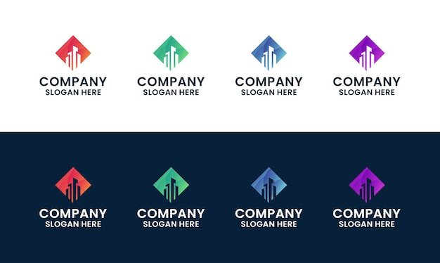 Set of abstract and modern building, architecture, real estate logo template