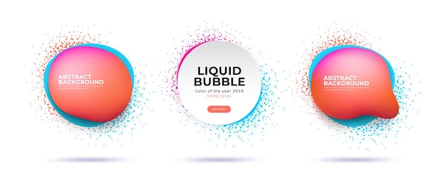 Set of abstract modern dynamical liquid bubbles with spray splash