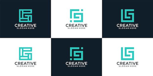 Set of abstract modern elegant line monogram letter g logo elements inspiration