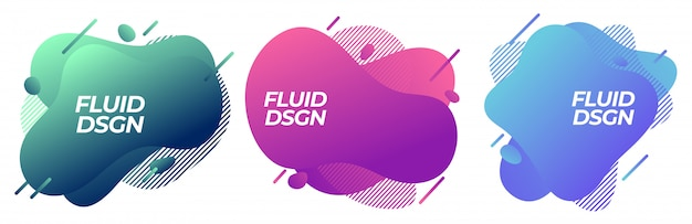 Set of abstract modern fluid liquid graphic shapes elements. dynamical colorful line. gradient abstract