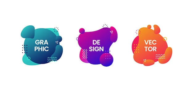 Set of abstract modern graphic elements colorful gradient liquid shapes illustration