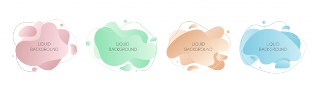 Set of  abstract modern graphic liquid elements