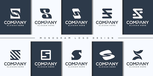 Set abstract modern letter s logo template