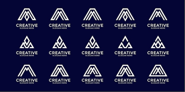 Set of abstract monogram initial letter m a logo design template
