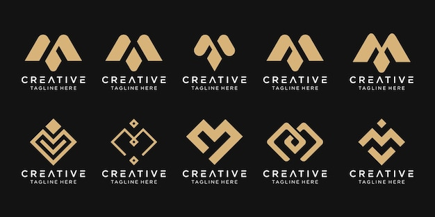 Set of abstract monogram initial letter m logo template.