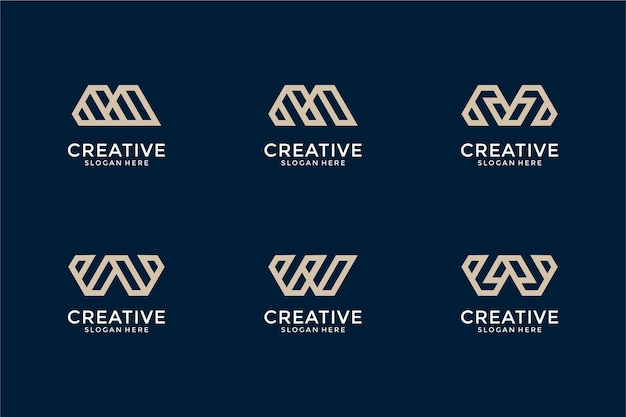 Set of abstract monogram initial letter m w  logo design template