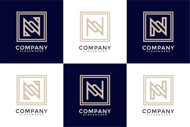 Set of abstract monogram initial letter n logo design template