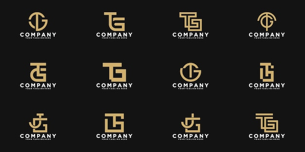 Set of abstract monogram initial letter t, g logo template