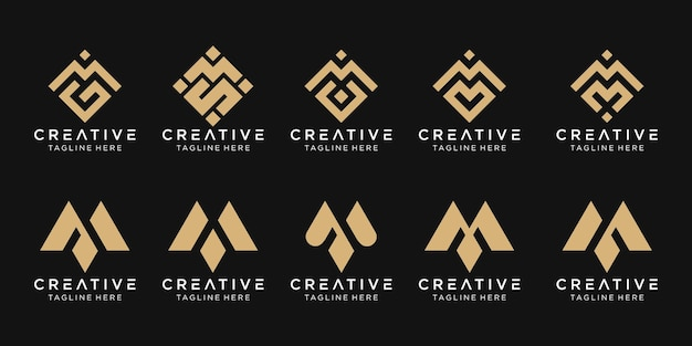 Set of abstract monogram initial m logo template.