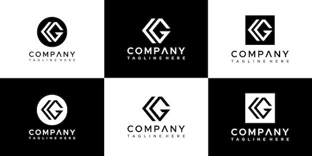 Set of abstract monogram letter cg logo design.