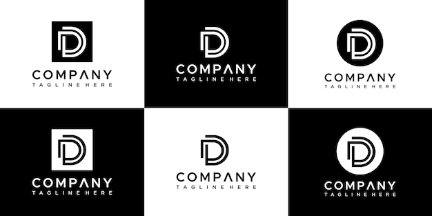 Set of abstract monogram letter d logo design.