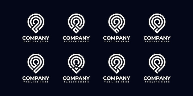 Set of abstract monogram letter logo collection for company