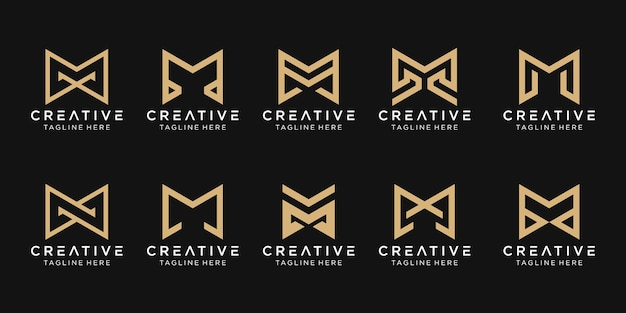 Set of abstract monogram letter m logo template. icons for business of fashion, building, simple.