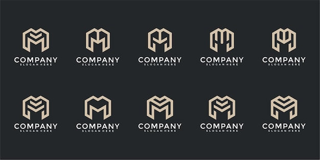 Set of abstract monogram letter m logo template icons for business of fashion building simple
