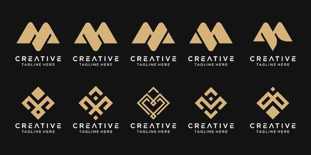 Set of abstract monogram letter m logo template.