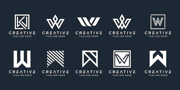 Set of abstract monogram letter w logo template icons for business of fashion sport automotive
