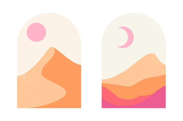 Set of abstract mountain and desert landscapes in arches in an aesthetic