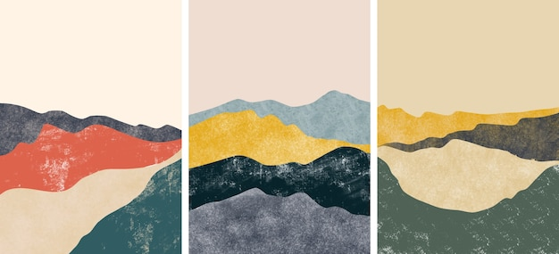 Set of abstract mountain landscape covers