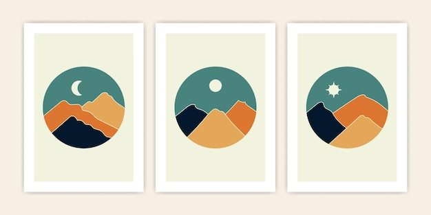 Set of abstract mountain landscape with circle shape. vector cover abstract design.