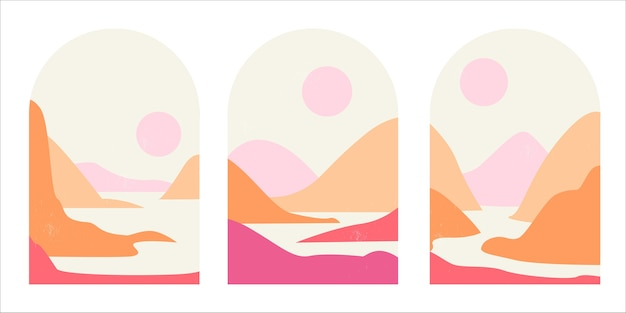 Set of abstract mountain landscapes in arches in an aesthetic trending mid-century minimalist style in soft pinks and sands.