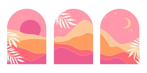 Set of abstract mountain landscapes in arches at sunset with sun and moon in aesthetic minimalist mid century style